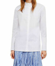Tory Burch 11151185 White Poplin Mandarin Collar Long Sleeve Shirt - 0 NWT $225