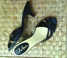 Cole Haan Nikeair Sandals Size 6B Black Patent & Textured Kitten Heel