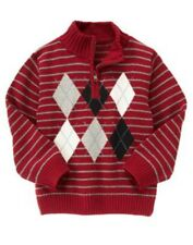 NWT Boys 3T 4T 3-4 XS Gymboree PIRATE ADVENTURE Red Argyle Half-Zip Sweater Top