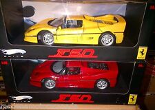 LOT OF 2 MODELS FERRARI F50 RED & YELLOW HOT WHEELS ELITE 1:18 NEW LOWER PRICE