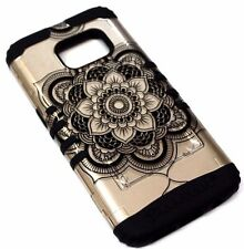 for Samsung Galaxy S7 - Gold Henna Flower 2D Black Rubber Hybrid Armor Skin Case