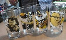 Set of (4) 1990 Pittsburgh Steelers McDonalds Hall of Fame Glass Set MINT