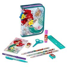 NEW DISNEY STORE ARIEL THE LITTLE MERMAID ZIP UP FILLED PENCIL CASE FLOUNDER