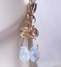 Opal OpaliteTeardrop Briolette Earrings Handmade 14k Yellow Gold Filled