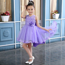 2017 Sleeveless Flower Girl Trailing Dress Toddler Party Ball Gown 2-15T