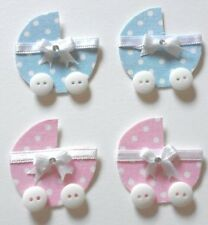 4 polka dot pram embellishment blue/pink/cakes/cards/baby shower/scrapbooking