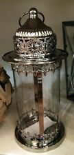 NEW Vintage Style Moraccan Pillar Candle Holder Lantern Chrome Metal  BNWT