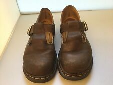 Dr. Martens Doc 6 Brown Leather Mary Jane T Bar Strap Made In England Vtg 90s