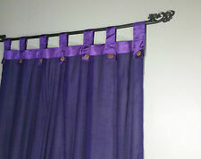 Bali Natural Cotton Coloured Tab Curtains (Pair) Purple