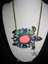 Betsey Johnson Shell Shocked Blue Coral Turtle Pendant Necklace