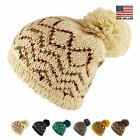 Bohemian Pattern Knit Large Pom Pom Beanie Warm Soft Winter Ski Hat Women Men