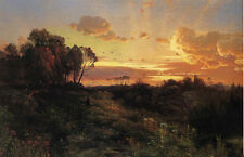 Nice Oil painting Thomas Moran - Dusk Wings sunset landscape with clouds canvas
