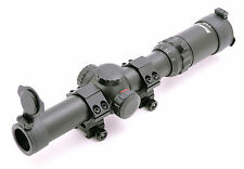 Hammers Illuminated Hog Riflescope 1-4X24 w/ Quick Dot Pig Reticle Weaver Rings