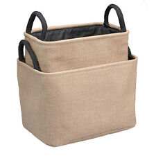 Set of 2 BURLAP STORAGE BINS, Nesting with Handles, by Occasionally Made