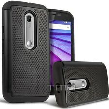 Motorola Moto G 3rd Gen XT1540 Rugged Impact Hybrid Shock Proof Case - Black