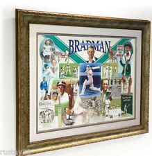 SIR DONALD BRADMAN HAND SIGNED FRAMED FIRST LAST ALWAYS LIMITED EDITION PRINT