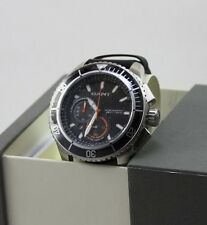 NEW AUTHENTIC GANT SEABROOK SILVER BLACK LEATHER CHRONOGRAPH MENS W70544 WATCH