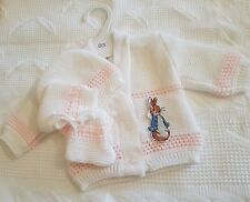 Peter Rabbit baby knitted cardigan Hat And Boots 6/9 Months
