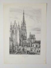 Lithographie Originale XIXème - Cathédrale de Rouen - A. Durand - 1838