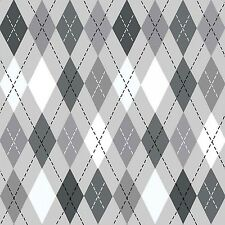 Fabric Argyle Black & White on Gray Flannel by the 1/4 yard BIN