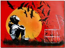 "BANKSY STREET ART *FRAMED* CANVAS PRINT Birds released Sunset Stencil 18x12"" -"
