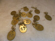 Antique French ONE brass key fob from a hotel different numbers available