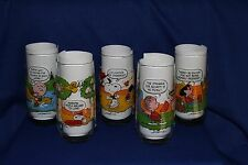 "McDonald's 1983 ""Camp Snoopy"" Peanuts Complete Set of 5 Glasses NEW"