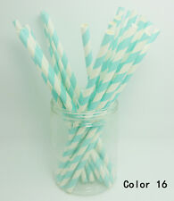 25 PCS Diagonal Striped Paper Drinking Straws Wedding Birthday Party Color 16