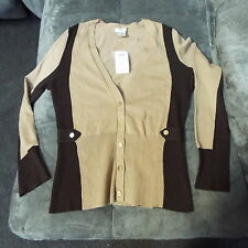 Cache NWT Small Chocolate Brown/Tan Cardigan Sweater