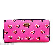 New Coach Accordion Zip Wallet Pink Hearts Print Valentines Clutch Purse 52563