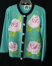 Storybook Knits Charming Sea Foam Green Rose Buttoned Sweater Sz S