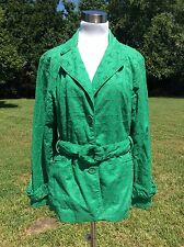 Vintage Willi Smith Green Eyelet Belted Cotton Jacket Women's XL