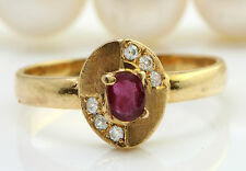 .22CTW Antique Natural Ruby and Diamonds in 14K Solid Yellow Gold Women Ring
