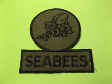 """US NAVY SEABEES OLIVE DRAB PATCH 4x4"""" UNUSED:FREE SHIP"""