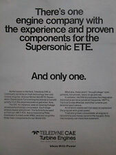 7/1975 PUB TELEDYNE CAE TURBINE ENGINES J69 -T-41D ENGINE ORIGINAL AD