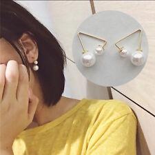 1Paire Boucle D'oreille en Forme de Triangle avec Décoration de Perle Imité