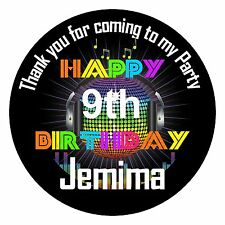 24 Personalised Birthday Disco Party Sticker Label Thank You Message SC0102