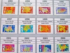 Complete Set of 12 Lunar or Chinese New Year Stamps from 1993 to 2004 All MNH