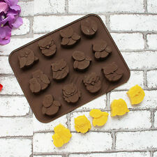 Silicone 12-Owl Cake Decorating Mould Candy Cookies Chocolate Soap Baking Mold