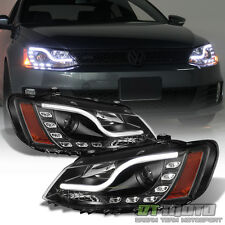 Black 2011-2016 VW Jetta MK6 LED DRL Tube Projector Headlights 11-16 Left+Right