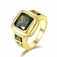 Size 8 Fashion Rare Peridot 10KT Gold Filled Men's Wedding Anniversary Ring Gift