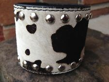 Black & White Cow Animal Print Wide Thick Genuine Leather Fur CUFF Bracelet