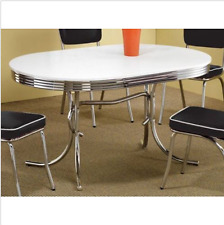 Dinner Table Retro Kitchen Oval White Chrome 50s Diner Vintage Style Furniture