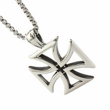 """New Men Quality Silver Tone Stainless Steel Iron Cross Pendant Link Necklace 24"""""""
