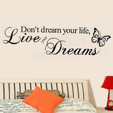 Pegatina de Pared PVC Live Your Dreams Decoración para Hogar Cuarto de Sala