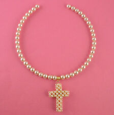 Fashionable Ivory Pearl Style Bead Choker with Pendant Cross Crucifix