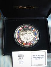 Gibraltar 2004 £10 Pound coin D-Day Anniversary 5 OZ .925 silver proof boxed COA