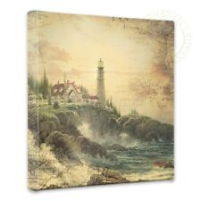 "Thomas Kinkade - Clearing Storm Map Collage - 14"" x 14"" Gallery Wrapped Canvas"