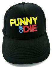 FUNNY OR DIE - black trucker style adjustable snapback  cap / hat - internet