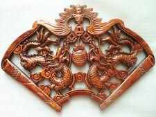 EXQUISITE HAND-CARVED A PAIR DRAGON STATUES CAMPHOR WOOD PLATE WALL SCULPTURE NR